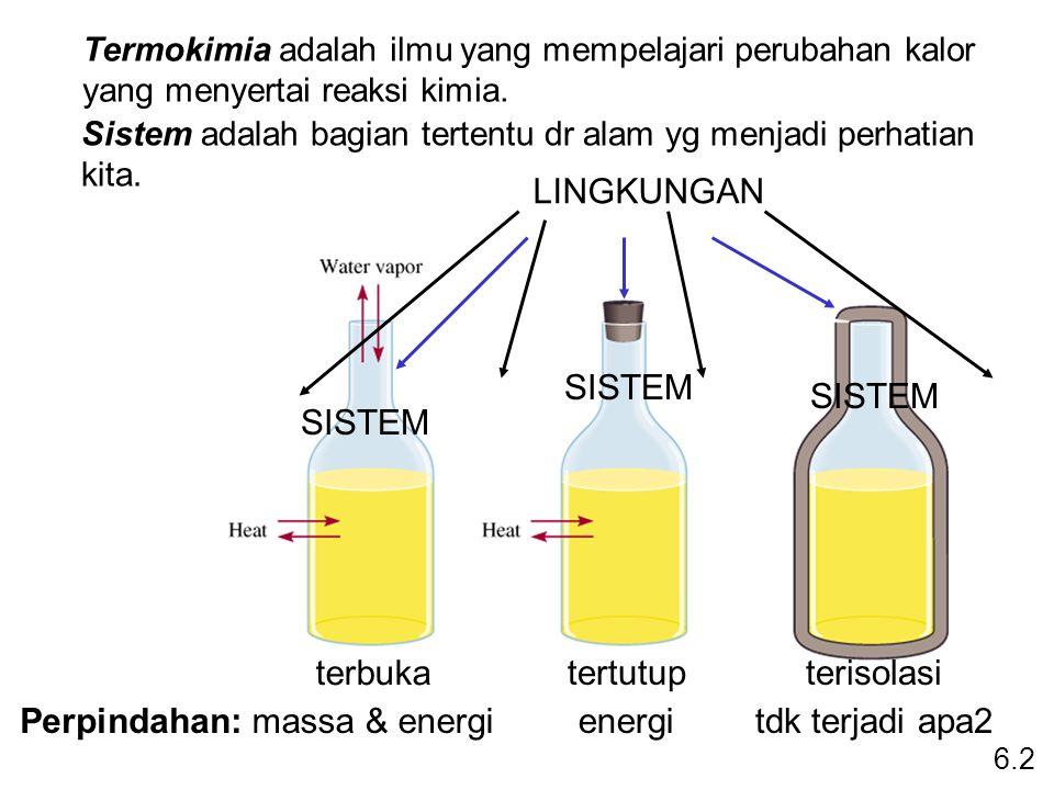 terbuka massa & energiPerpindahan: tertutup energi terisolasi tdk terjadi apa2 SISTEM Termokimia adalah ilmu yang mempelajari perubahan kalor yang men