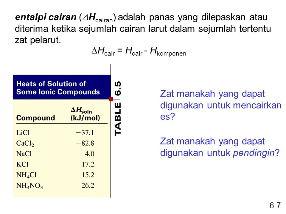 entalpi cairan (  H cairan ) adalah panas yang dilepaskan atau diterima ketika sejumlah cairan larut dalam sejumlah tertentu zat pelarut.  H cair =