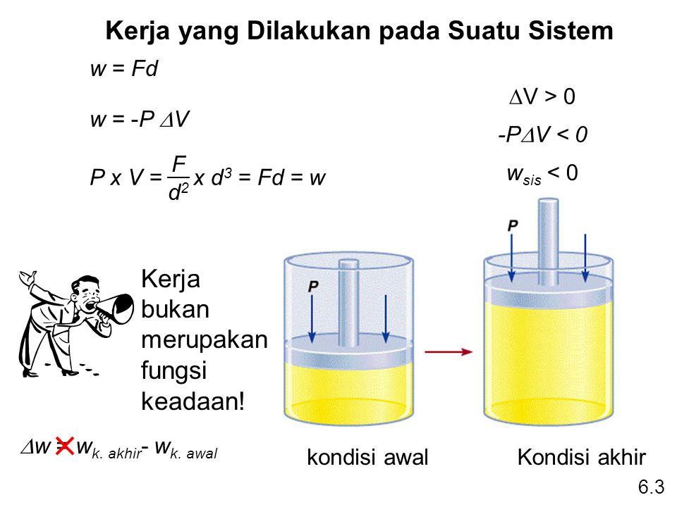 Kerja yang Dilakukan pada Suatu Sistem 6.3 w = Fd w = -P  V P x V = x d 3 = Fd = w F d2d2  V > 0 -P  V < 0 w sis < 0 Kerja bukan merupakan fungsi k