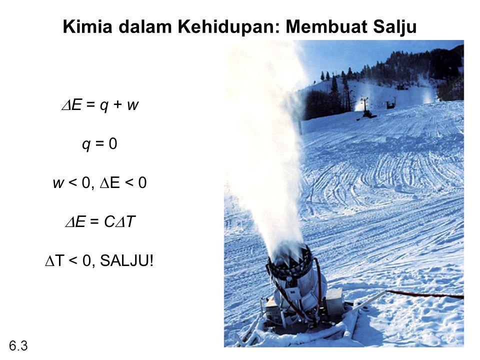 Kimia dalam Kehidupan: Membuat Salju  E = q + w q = 0 w < 0,  E < 0  E = C  T  T < 0, SALJU! 6.3