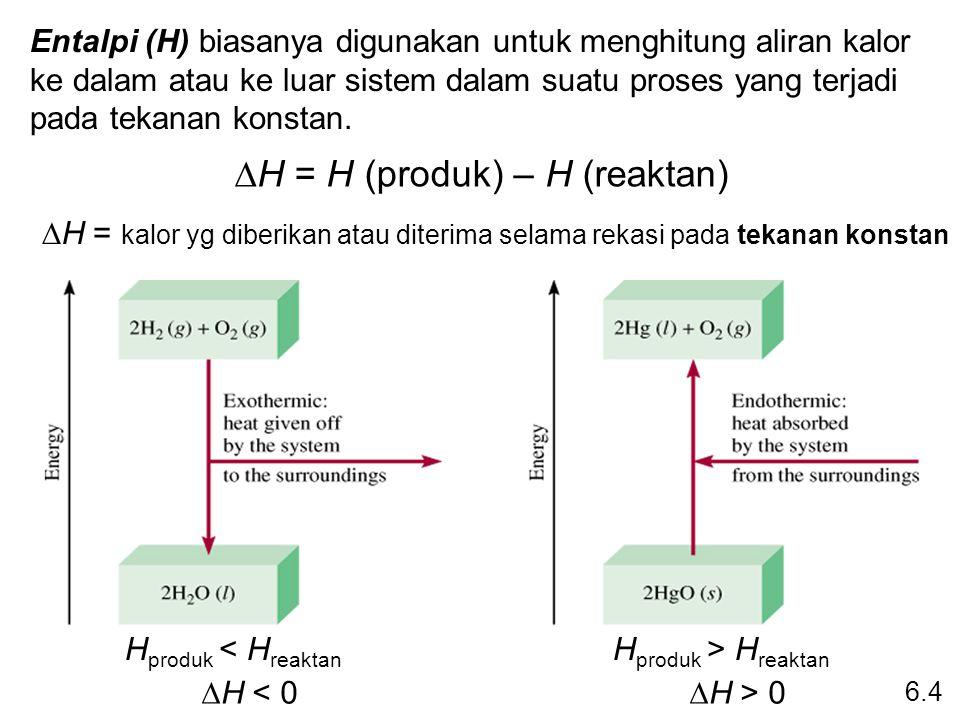 Persamaan Termokimia H 2 O (s) H 2 O (l)  H = 6,01 kJ Apakah  H negatif atau positif.