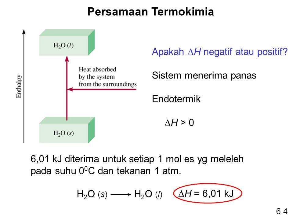 Persamaan Termokimia H 2 O (s) H 2 O (l)  H = 6,01 kJ Apakah  H negatif atau positif? Sistem menerima panas Endotermik  H > 0 6,01 kJ diterima untu