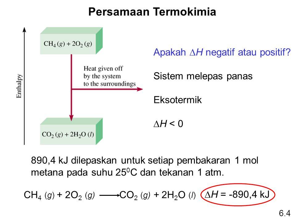 Persamaan Termokimia CH 4 (g) + 2O 2 (g) CO 2 (g) + 2H 2 O (l)  H = -890,4 kJ Apakah  H negatif atau positif? Sistem melepas panas Eksotermik  H <