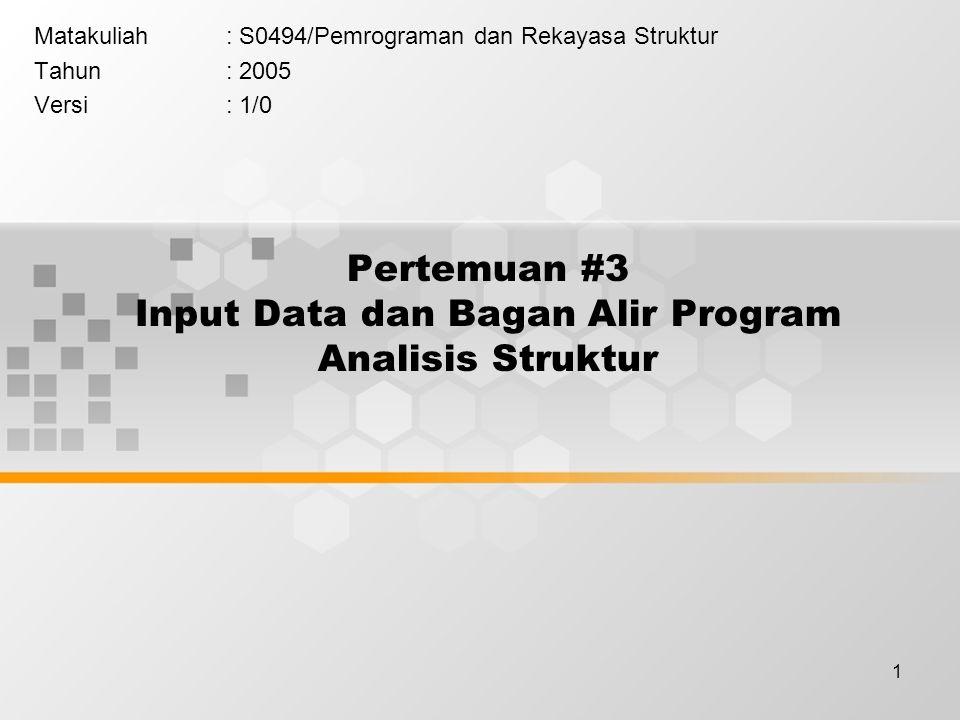 12 Algoritma Program Utama START BACAIN STRUDO NODLOAD ELPROP ASSEMBLING DO I = 1 TO NEL ELSTIFF A SOLVER RECOVERY PRIOUT A STOP KETERANGAN SUBROUTINE : BACAIN : Membaca input STRUDO : Menghitung D.O.F NODLOAD : Beban pada Joint ELPROP : Panjang dan Sudut batang ELSTIFF : Matriks kekakuan Batang Transformasi ASSEMBLING : Perakitan Matriks kekakuan Struktur SOLVER : Solusi persamaan simultan untuk mendapatkan perpindahan struktur RECOVERY : Menghitung gaya dalam batang PRIOUT : Mencetak hasil