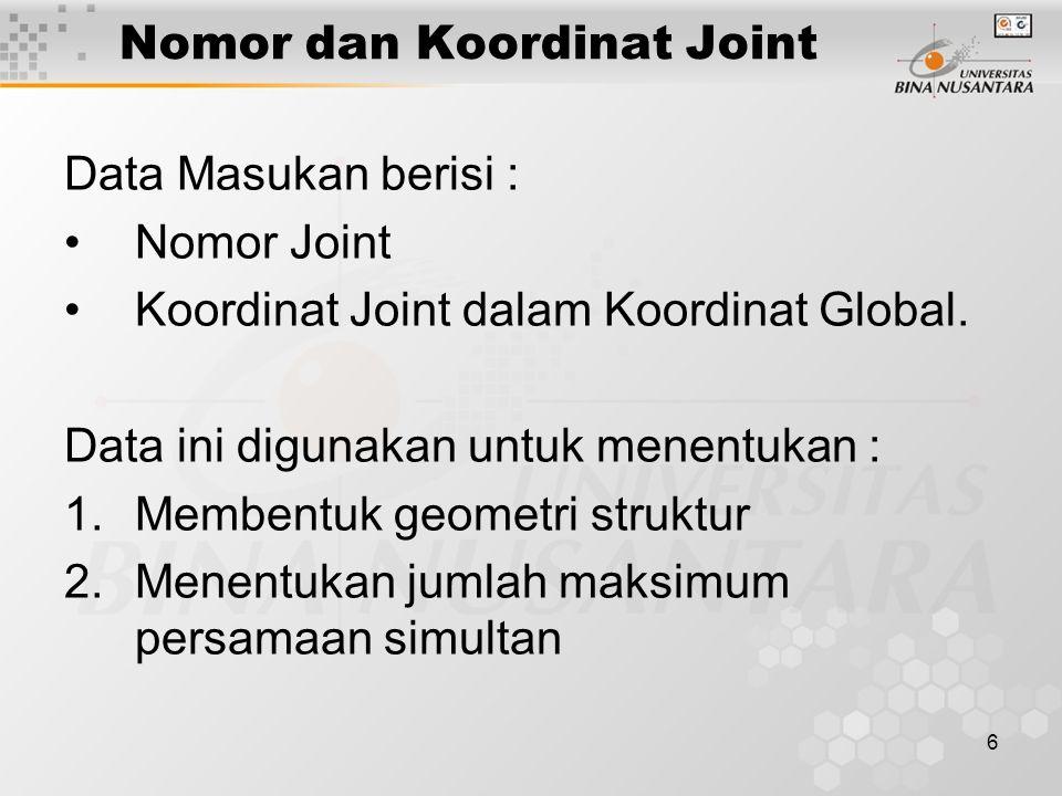 6 Nomor dan Koordinat Joint Data Masukan berisi : Nomor Joint Koordinat Joint dalam Koordinat Global. Data ini digunakan untuk menentukan : 1.Membentu