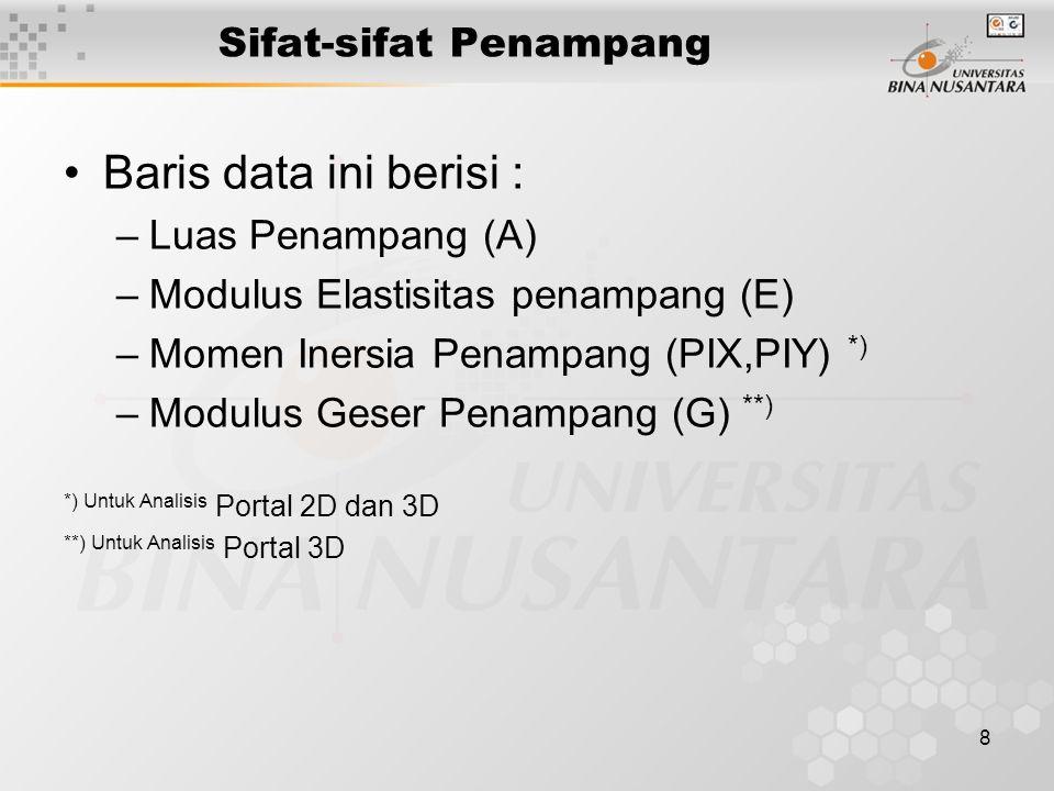 8 Sifat-sifat Penampang Baris data ini berisi : –Luas Penampang (A) –Modulus Elastisitas penampang (E) –Momen Inersia Penampang (PIX,PIY) *) –Modulus