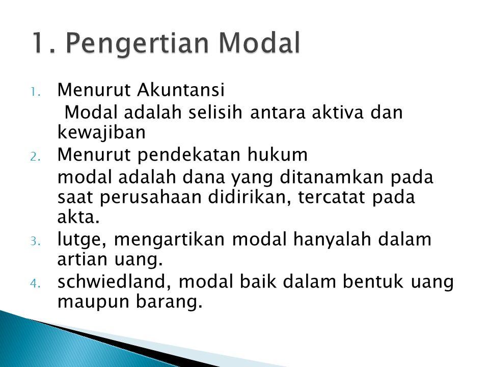 1. Menurut Akuntansi Modal adalah selisih antara aktiva dan kewajiban 2. Menurut pendekatan hukum modal adalah dana yang ditanamkan pada saat perusaha