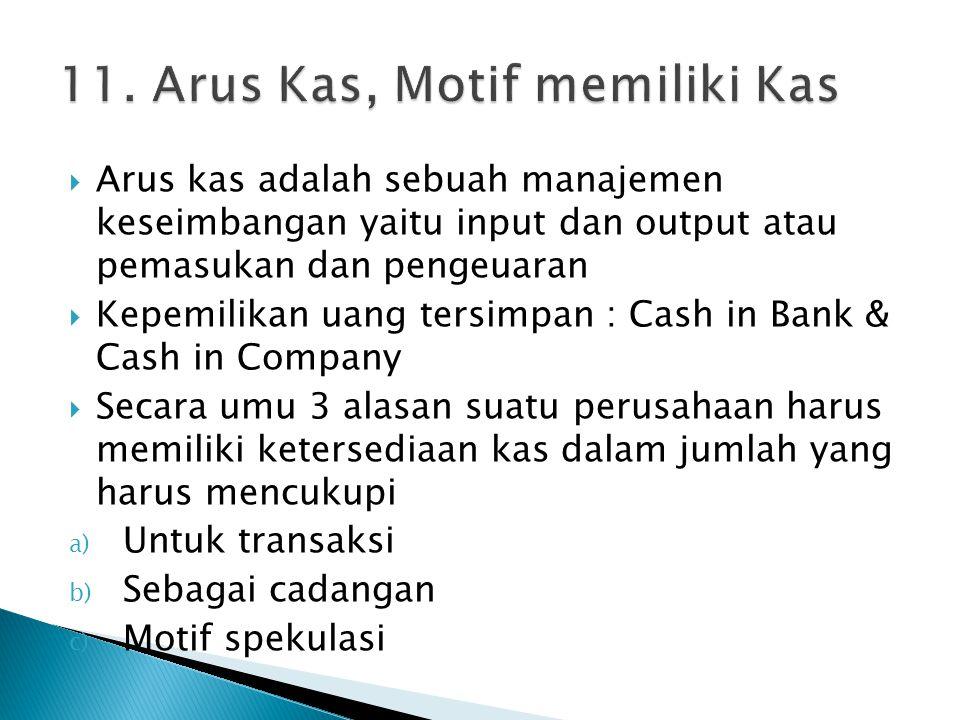  Arus kas adalah sebuah manajemen keseimbangan yaitu input dan output atau pemasukan dan pengeuaran  Kepemilikan uang tersimpan : Cash in Bank & Cas