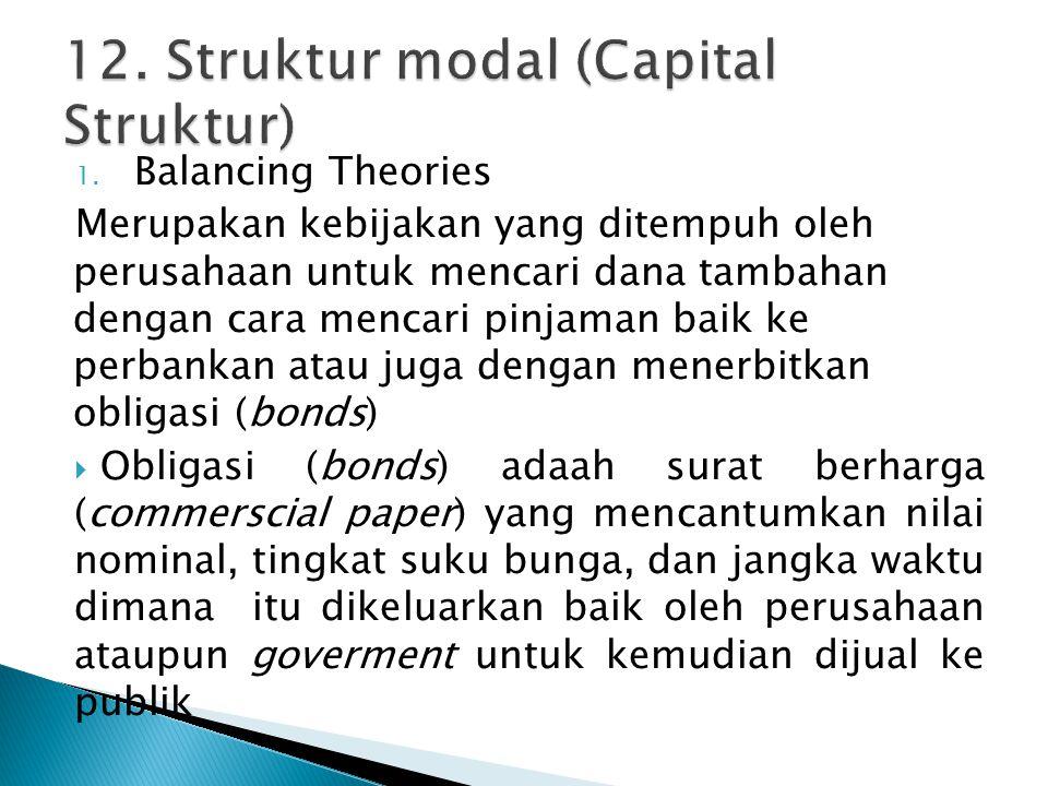 1. Balancing Theories Merupakan kebijakan yang ditempuh oleh perusahaan untuk mencari dana tambahan dengan cara mencari pinjaman baik ke perbankan ata