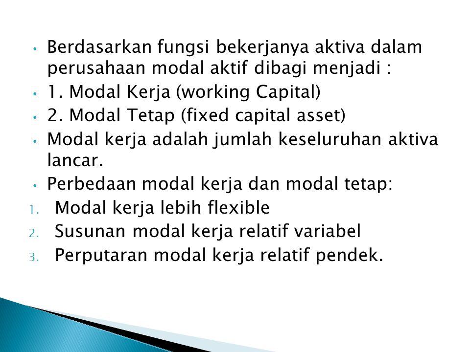 Berdasarkan fungsi bekerjanya aktiva dalam perusahaan modal aktif dibagi menjadi : 1. Modal Kerja (working Capital) 2. Modal Tetap (fixed capital asse