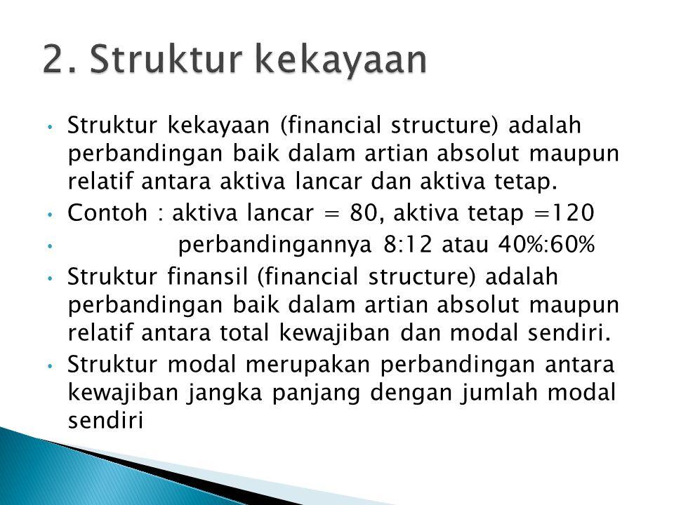 Struktur kekayaan (financial structure) adalah perbandingan baik dalam artian absolut maupun relatif antara aktiva lancar dan aktiva tetap. Contoh : a