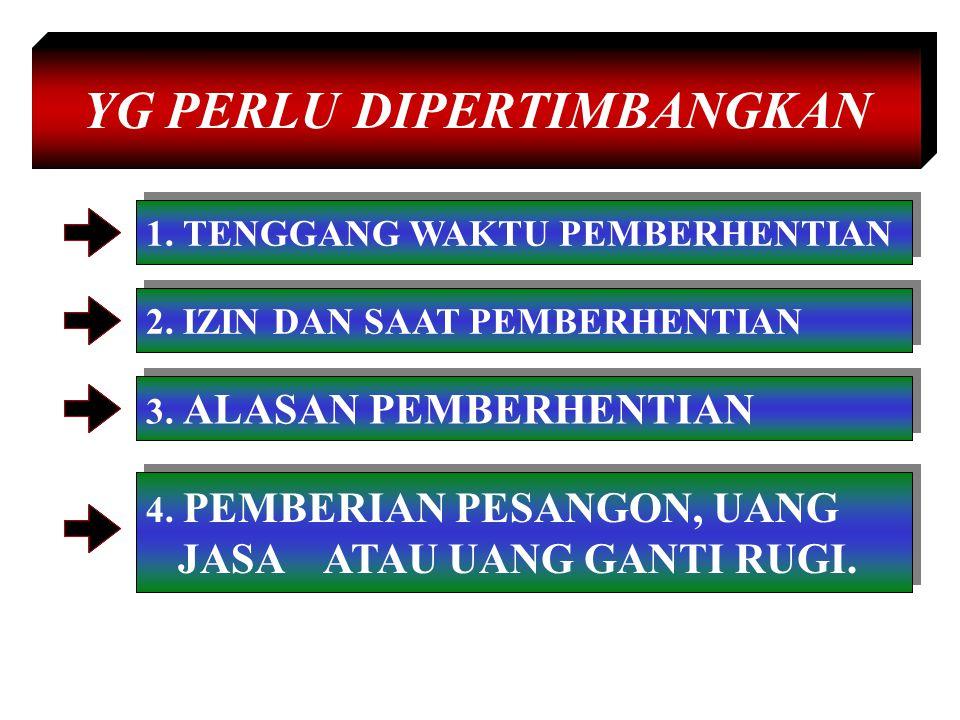 YG PERLU DIPERTIMBANGKAN 1.TENGGANG WAKTU PEMBERHENTIAN 2.