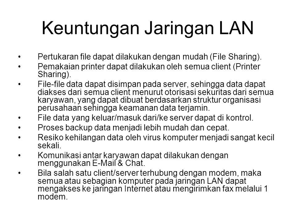 Keuntungan Jaringan LAN Pertukaran file dapat dilakukan dengan mudah (File Sharing).