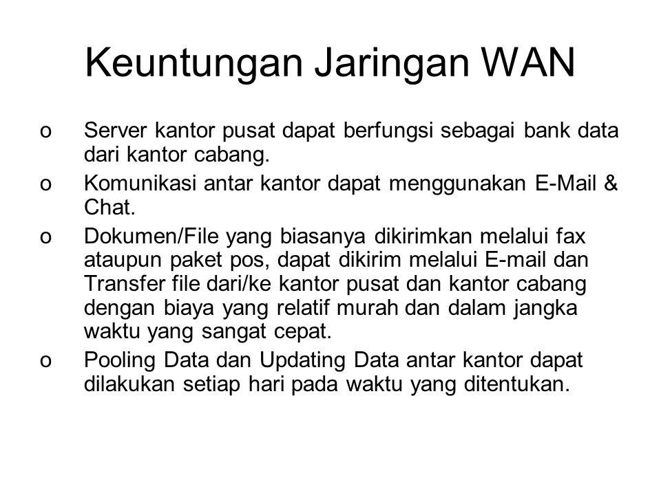 Keuntungan Jaringan WAN oServer kantor pusat dapat berfungsi sebagai bank data dari kantor cabang.
