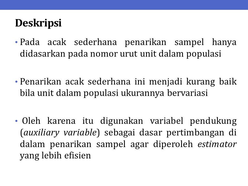 Deskripsi Variabel pendukung yang digunakan sebagai dasar penarikan sampel adalah variabel yang memiliki korelasi yang erat dengan variabel yang akan diteliti Variabel pendukung yang dipertimbangkan sebagai dasar penarikan sampel selanjutnya disebut ukuran (size)