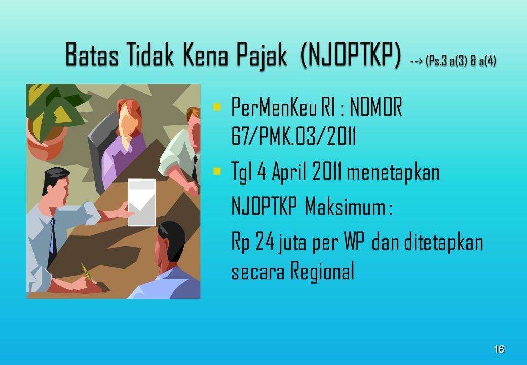 NJOPTKP adalah batas NJOP atas bumi dan/atau bangunan yang tidak kena pajak Besarnya NJOPTKP adalah Rp 12.000.000 dengan ketentuan sbb: 1.