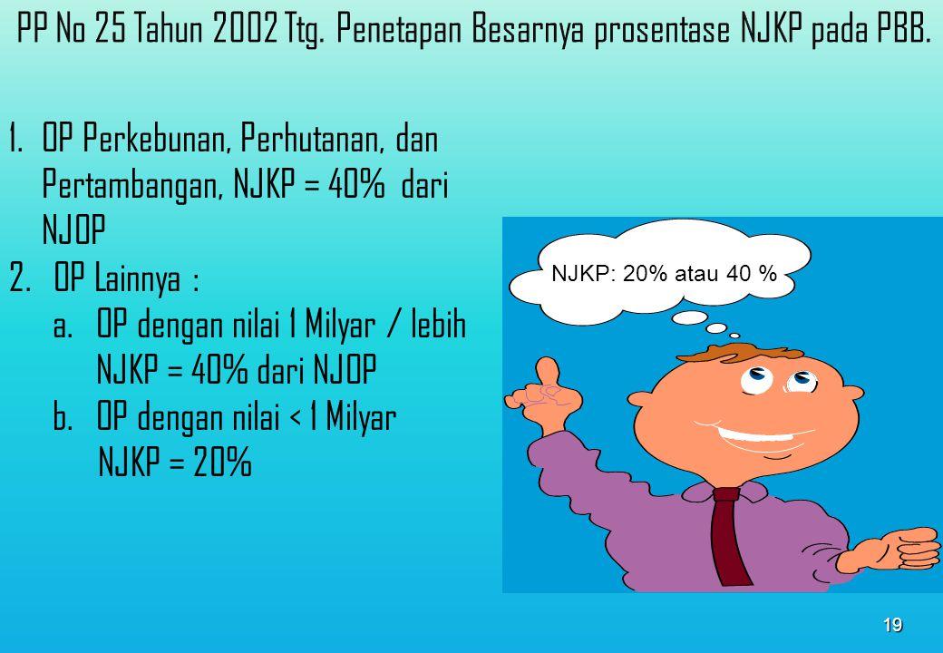 18 Dari NJOP Dasar penghitungan Pajak adalah : Nilai Jual Kena Pajak ( NJKP ), yang ditetapkan : Serendah-rendahnya 20% dan Setinggi-tingginya 100% DASAR PERHITUNGAN PAJAK ( Ps.