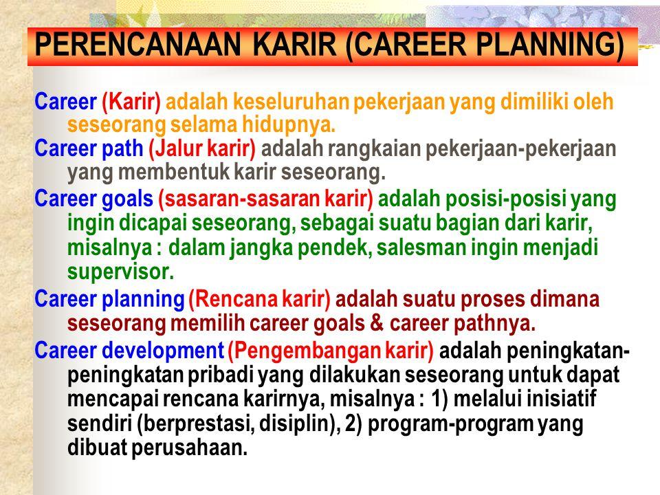 Career planningCareer goals Career development (feed back) Career path BAGAN PERENCANAAN KARIR