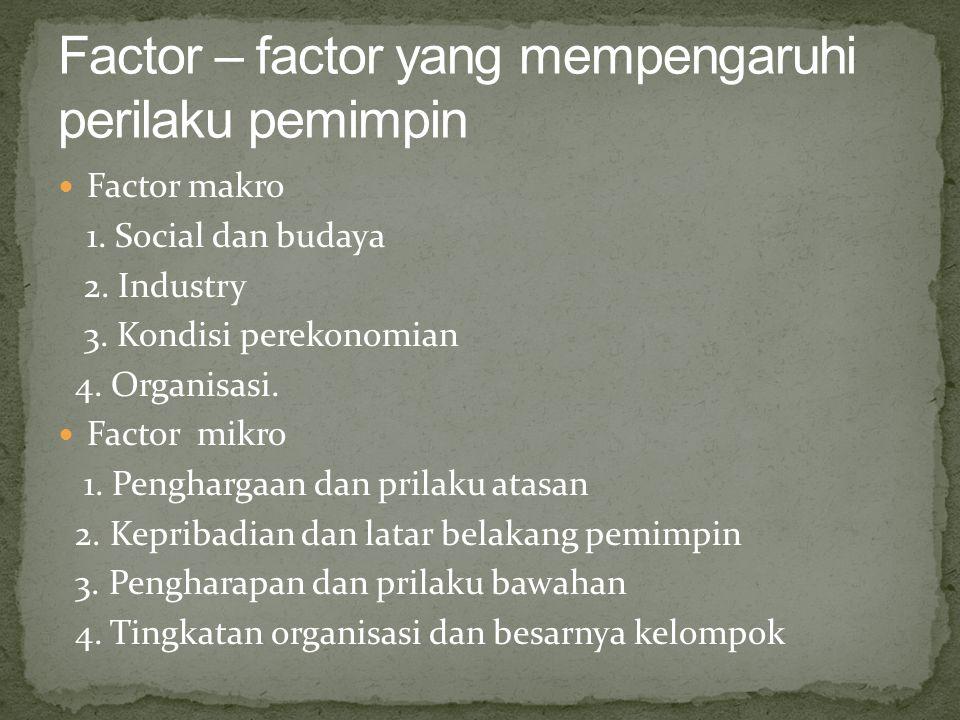 Factor makro 1. Social dan budaya 2. Industry 3. Kondisi perekonomian 4. Organisasi. Factor mikro 1. Penghargaan dan prilaku atasan 2. Kepribadian dan