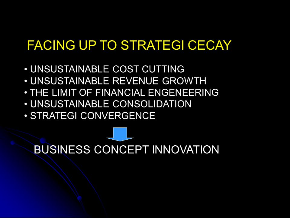 FACING UP TO STRATEGI CECAY UNSUSTAINABLE COST CUTTING UNSUSTAINABLE REVENUE GROWTH THE LIMIT OF FINANCIAL ENGENEERING UNSUSTAINABLE CONSOLIDATION STR