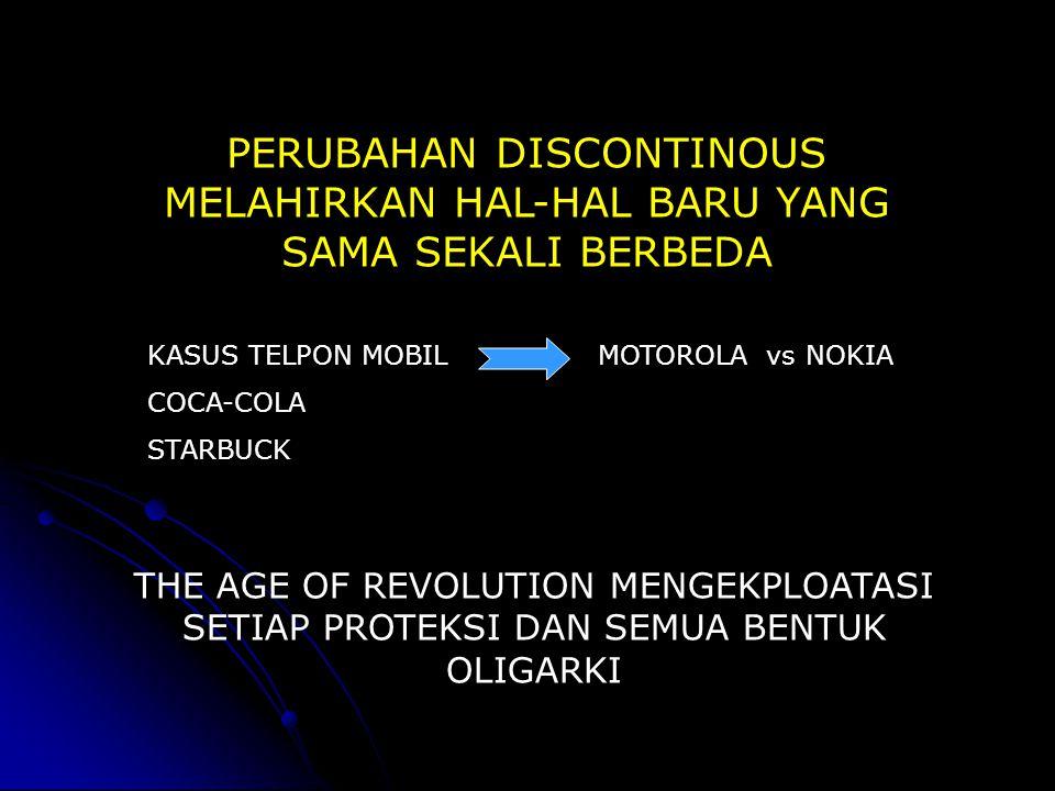 PERUBAHAN DISCONTINOUS MELAHIRKAN HAL-HAL BARU YANG SAMA SEKALI BERBEDA KASUS TELPON MOBIL MOTOROLA vs NOKIA COCA-COLA STARBUCK THE AGE OF REVOLUTION