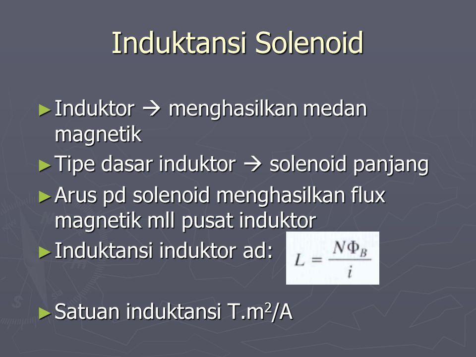 Induktansi Solenoid ► Induktor  menghasilkan medan magnetik ► Tipe dasar induktor  solenoid panjang ► Arus pd solenoid menghasilkan flux magnetik ml