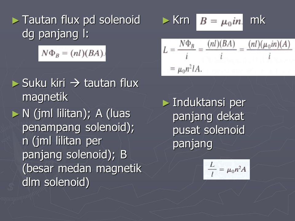 ► Tautan flux pd solenoid dg panjang l: ► Suku kiri  tautan flux magnetik ► N (jml lilitan); A (luas penampang solenoid); n (jml lilitan per panjang