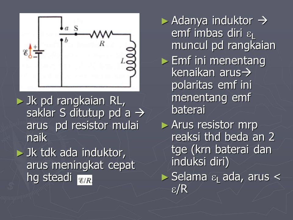 ► Jk pd rangkaian RL, saklar S ditutup pd a  arus pd resistor mulai naik ► Jk tdk ada induktor, arus meningkat cepat hg steadi ► Adanya induktor  em