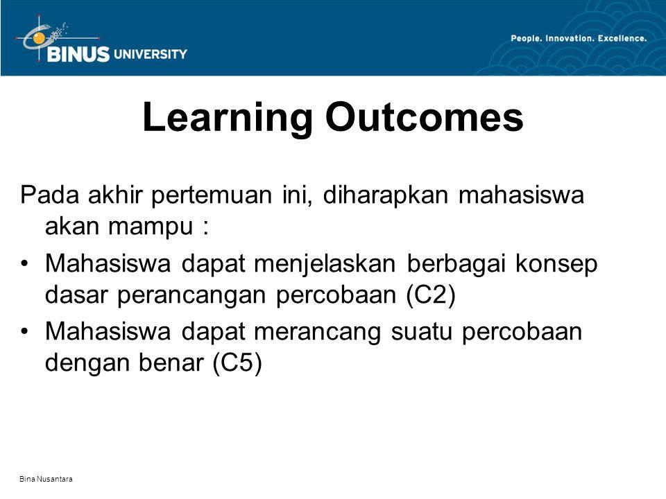 Bina Nusantara Learning Outcomes Pada akhir pertemuan ini, diharapkan mahasiswa akan mampu : Mahasiswa dapat menjelaskan berbagai konsep dasar perancangan percobaan (C2) Mahasiswa dapat merancang suatu percobaan dengan benar (C5)