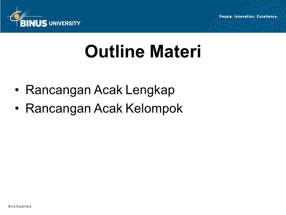 Bina Nusantara Outline Materi Rancangan Acak Lengkap Rancangan Acak Kelompok