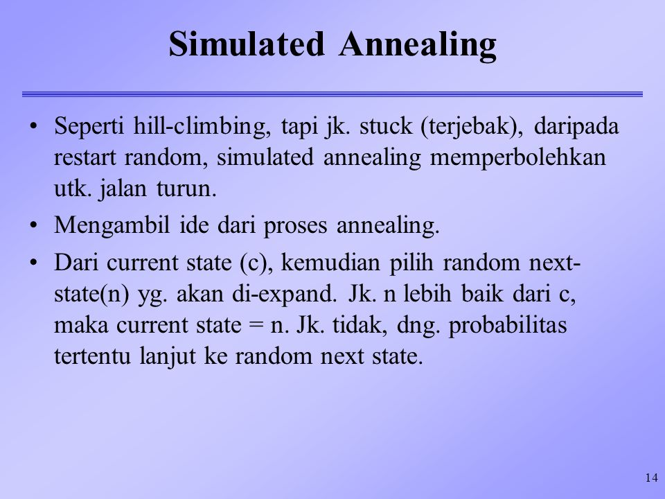14 Simulated Annealing Seperti hill-climbing, tapi jk.