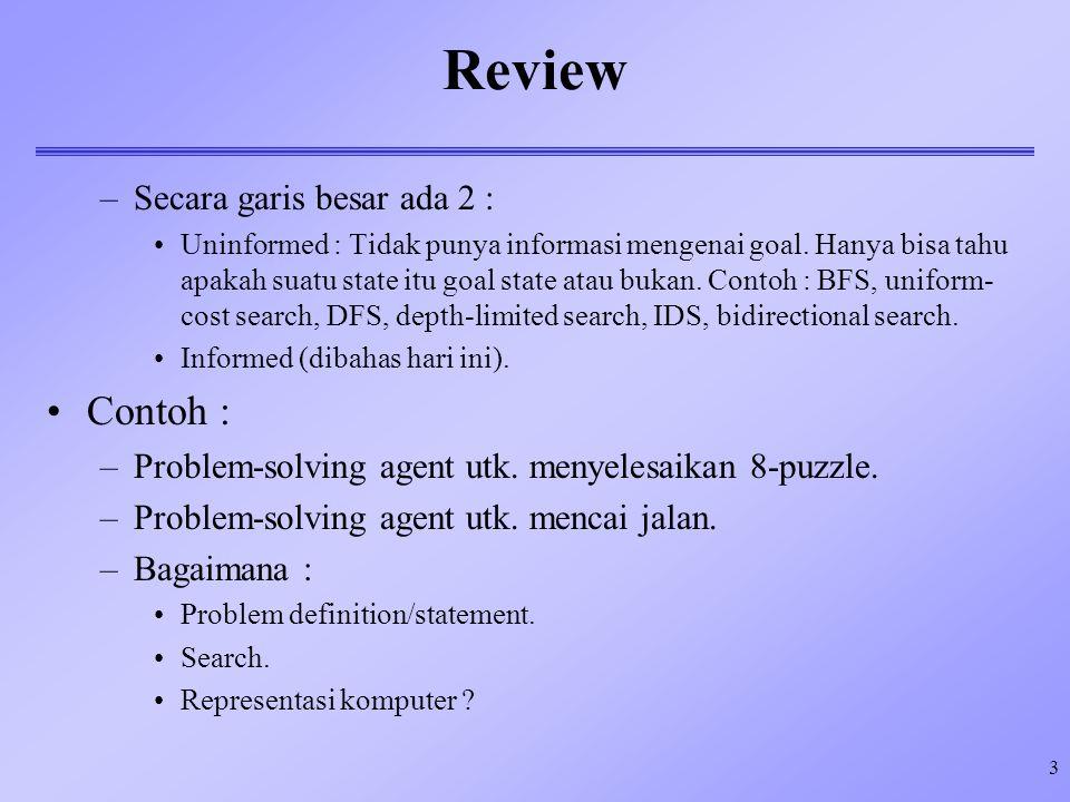 3 Review –Secara garis besar ada 2 : Uninformed : Tidak punya informasi mengenai goal. Hanya bisa tahu apakah suatu state itu goal state atau bukan. C
