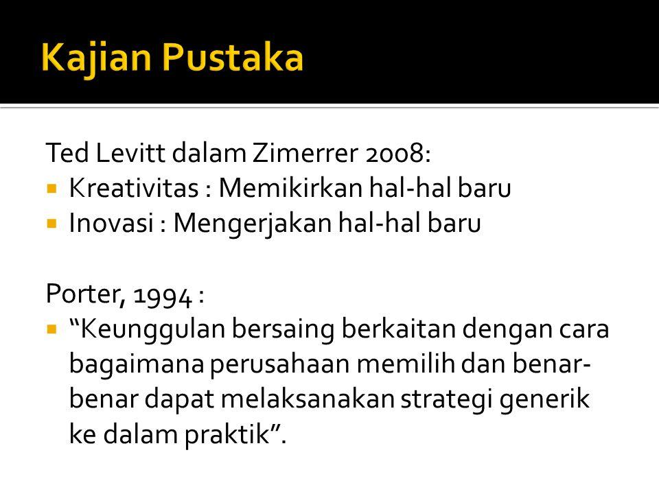 """Ted Levitt dalam Zimerrer 2008:  Kreativitas : Memikirkan hal-hal baru  Inovasi : Mengerjakan hal-hal baru Porter, 1994 :  """"Keunggulan bersaing ber"""