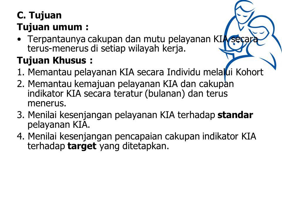 C. Tujuan Tujuan umum : Terpantaunya cakupan dan mutu pelayanan KIA secara terus-menerus di setiap wilayah kerja. Tujuan Khusus : 1. Memantau pelayana