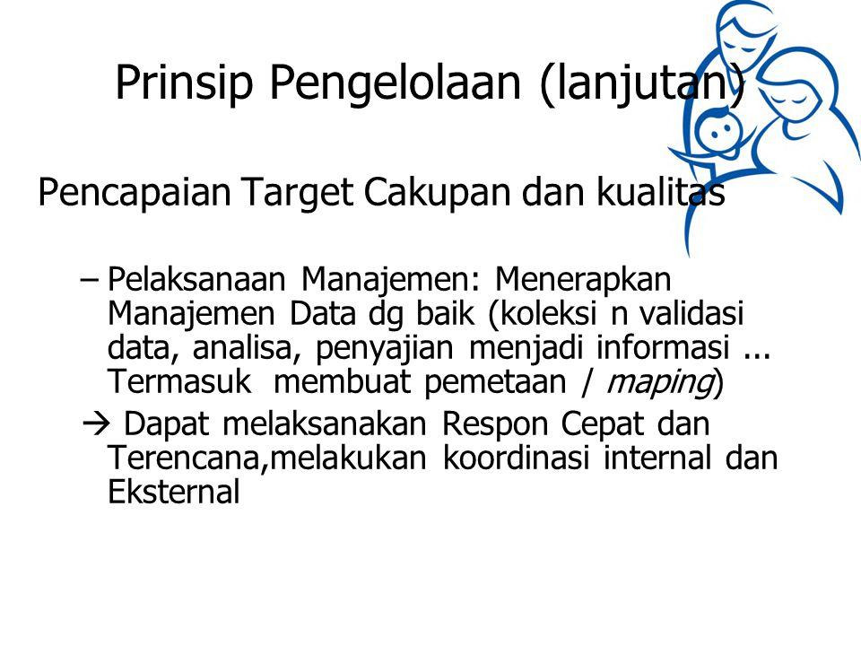 Prinsip Pengelolaan (lanjutan) Pencapaian Target Cakupan dan kualitas –Pelaksanaan Manajemen: Menerapkan Manajemen Data dg baik (koleksi n validasi da