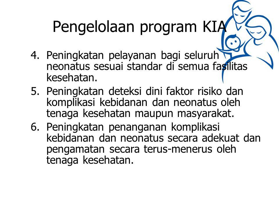 Pengelolaan program KIA 4.Peningkatan pelayanan bagi seluruh neonatus sesuai standar di semua fasilitas kesehatan. 5.Peningkatan deteksi dini faktor r