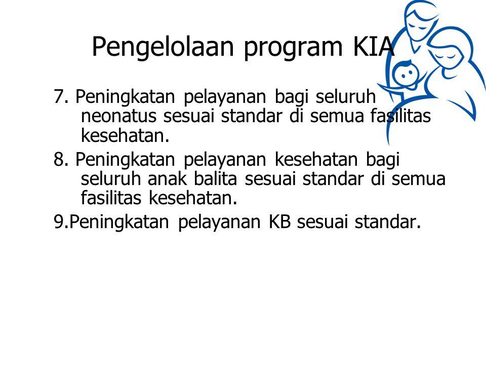 Pengelolaan program KIA 7. Peningkatan pelayanan bagi seluruh neonatus sesuai standar di semua fasilitas kesehatan. 8. Peningkatan pelayanan kesehatan
