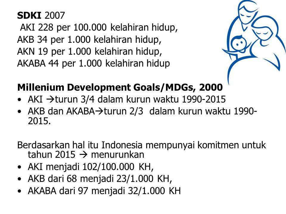 SDKI 2007 AKI 228 per 100.000 kelahiran hidup, AKB 34 per 1.000 kelahiran hidup, AKN 19 per 1.000 kelahiran hidup, AKABA 44 per 1.000 kelahiran hidup