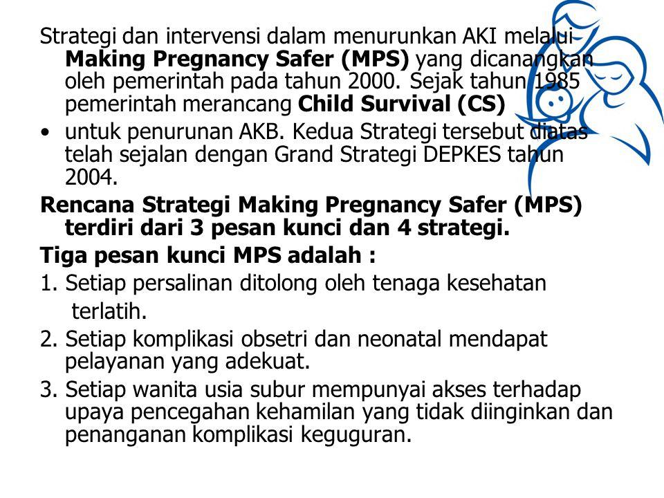 Strategi dan intervensi dalam menurunkan AKI melalui Making Pregnancy Safer (MPS) yang dicanangkan oleh pemerintah pada tahun 2000. Sejak tahun 1985 p