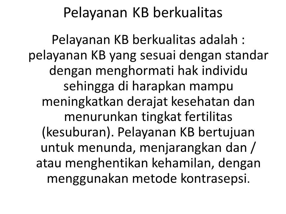 Pelayanan KB berkualitas Pelayanan KB berkualitas adalah : pelayanan KB yang sesuai dengan standar dengan menghormati hak individu sehingga di harapka