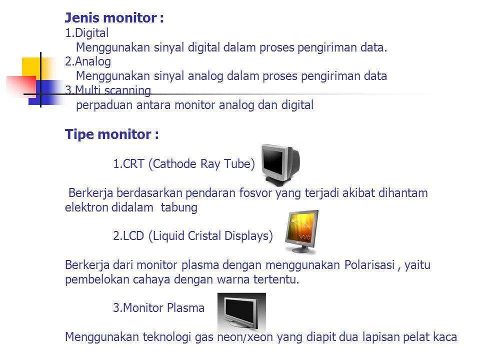 Jenis monitor : 1.Digital Menggunakan sinyal digital dalam proses pengiriman data. 2.Analog Menggunakan sinyal analog dalam proses pengiriman data 3.M