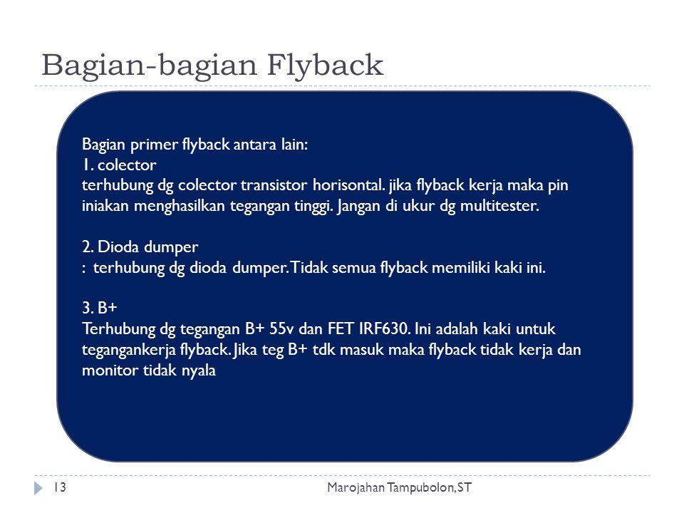 Bagian-bagian Flyback Bagian primer flyback antara lain: 1. colector terhubung dg colector transistor horisontal. jika flyback kerja maka pin iniakan