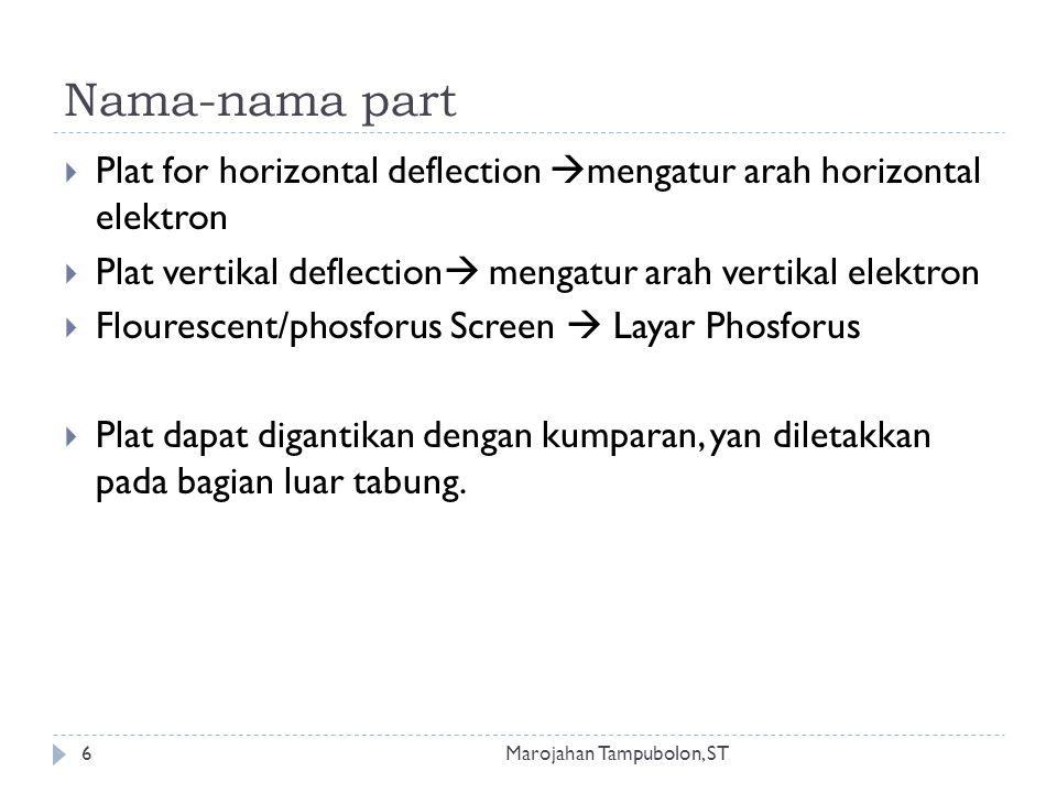 Nama-nama part  Plat for horizontal deflection  mengatur arah horizontal elektron  Plat vertikal deflection  mengatur arah vertikal elektron  Flourescent/phosforus Screen  Layar Phosforus  Plat dapat digantikan dengan kumparan, yan diletakkan pada bagian luar tabung.
