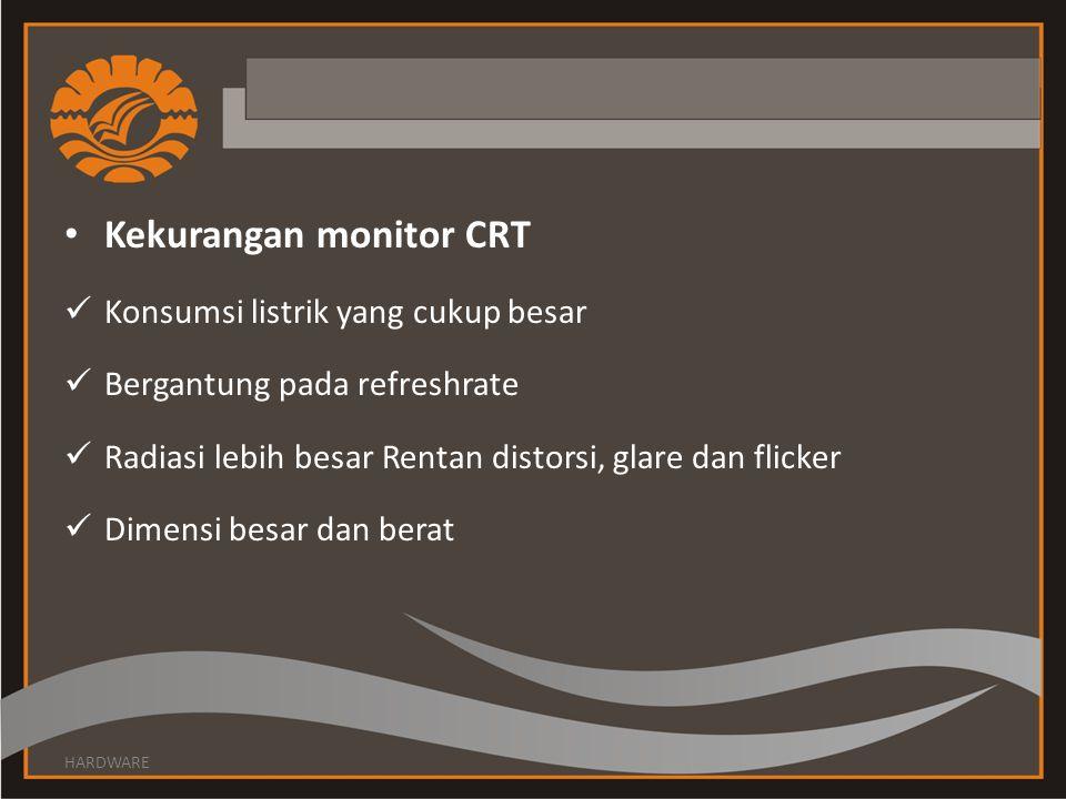 Kekurangan monitor CRT Konsumsi listrik yang cukup besar Bergantung pada refreshrate Radiasi lebih besar Rentan distorsi, glare dan flicker Dimensi be