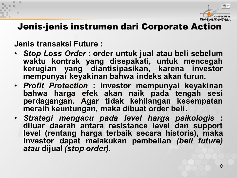10 Jenis-jenis instrumen dari Corporate Action Jenis transaksi Future : Stop Loss Order : order untuk jual atau beli sebelum waktu kontrak yang disepakati, untuk mencegah kerugian yang diantisipasikan, karena investor mempunyai keyakinan bahwa indeks akan turun.