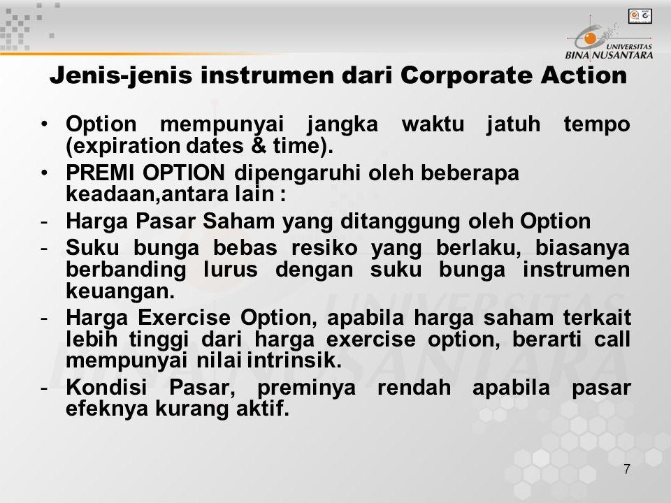 7 Jenis-jenis instrumen dari Corporate Action Option mempunyai jangka waktu jatuh tempo (expiration dates & time).