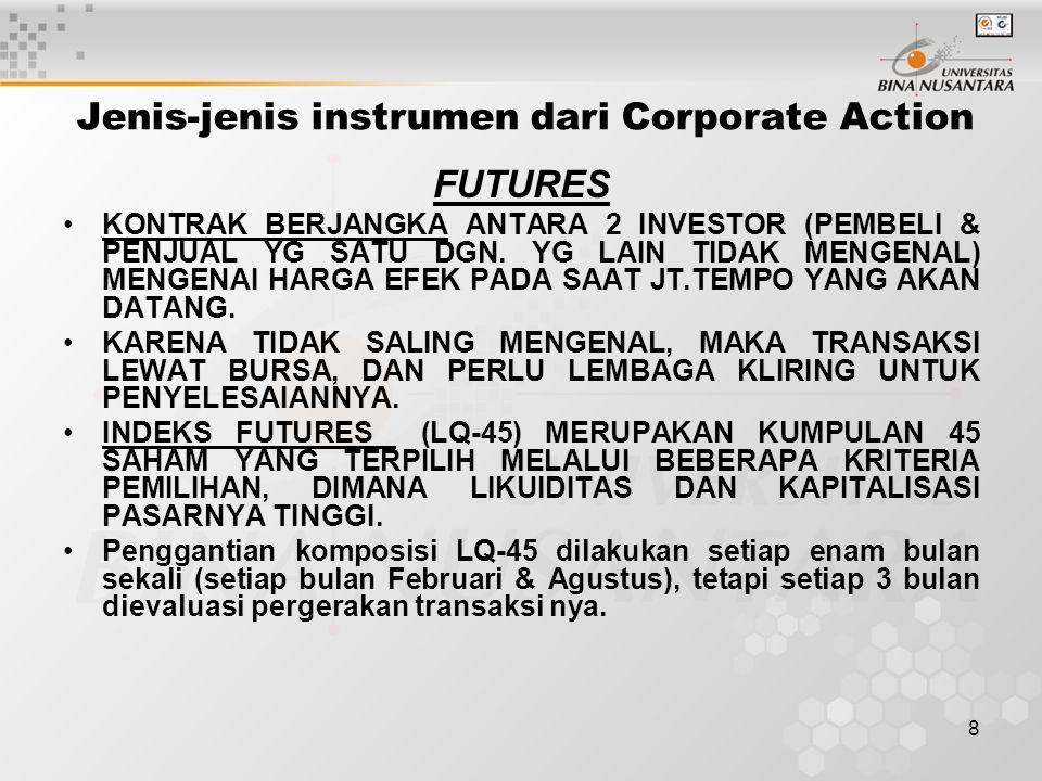 8 Jenis-jenis instrumen dari Corporate Action FUTURES KONTRAK BERJANGKA ANTARA 2 INVESTOR (PEMBELI & PENJUAL YG SATU DGN.