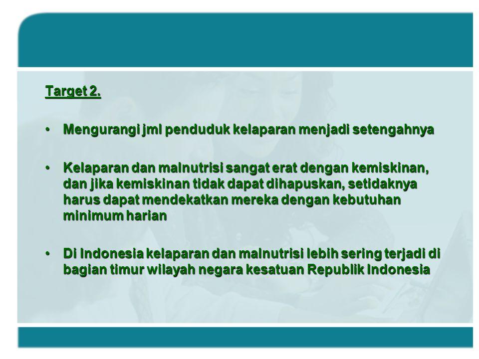 Target 2. Mengurangi jml penduduk kelaparan menjadi setengahnyaMengurangi jml penduduk kelaparan menjadi setengahnya Kelaparan dan malnutrisi sangat e