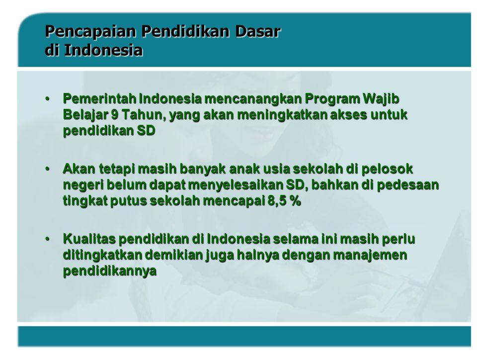 Pencapaian Pendidikan Dasar di Indonesia Pemerintah Indonesia mencanangkan Program Wajib Belajar 9 Tahun, yang akan meningkatkan akses untuk pendidika