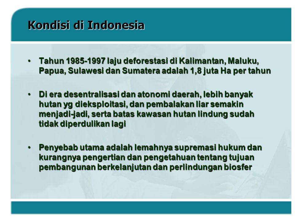 Kondisi di Indonesia Tahun 1985-1997 laju deforestasi di Kalimantan, Maluku, Papua, Sulawesi dan Sumatera adalah 1,8 juta Ha per tahunTahun 1985-1997
